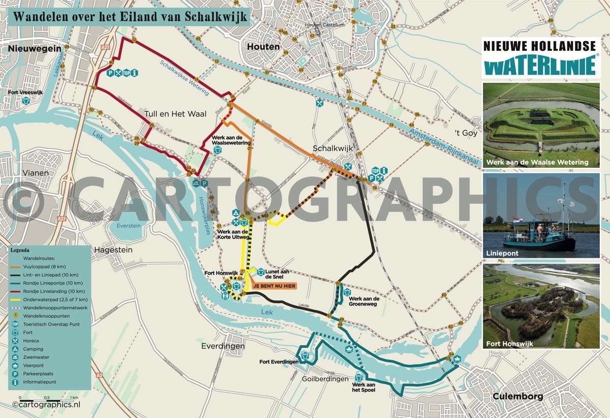 Wandelkaart Stelling van Honswijk-Provincie Utrecht